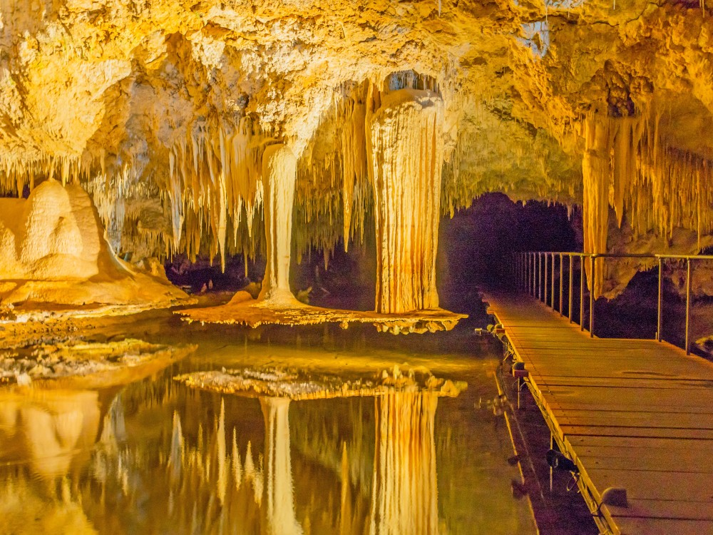 Lake Cave, near the town of Margaret River in Western Australia, with its beautiful 'suspended table', stalactites and crystal formations